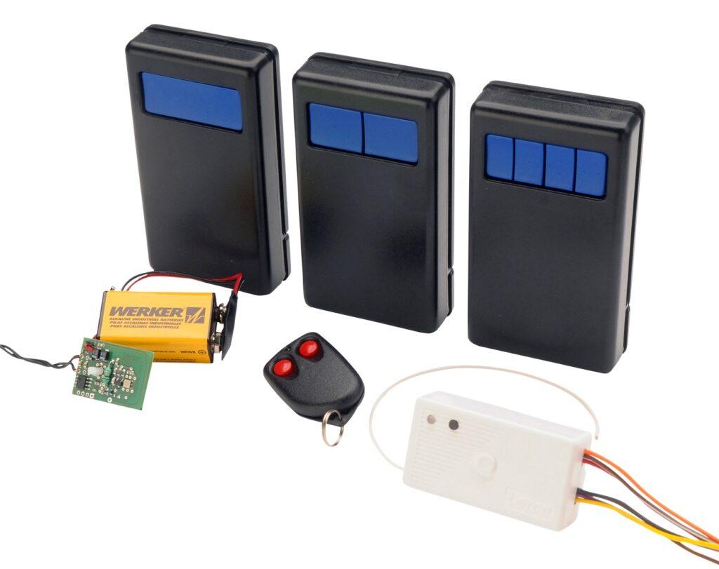 Transmisores portátiles, llavero y receptor radiocontrolado