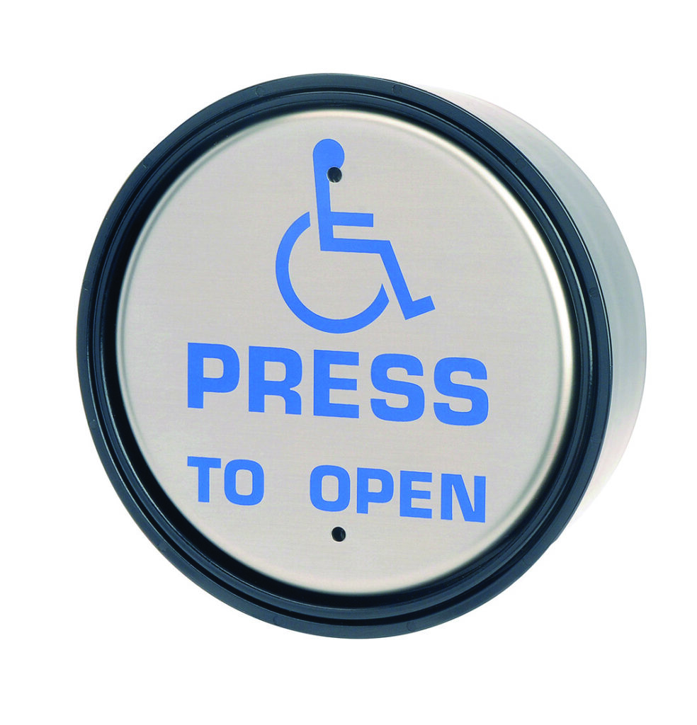 "Round Hardwired Push Pad - Hotron Stainless Steel Push Pad for Automatic Doors with ""press to open"" and wheelchair logo"