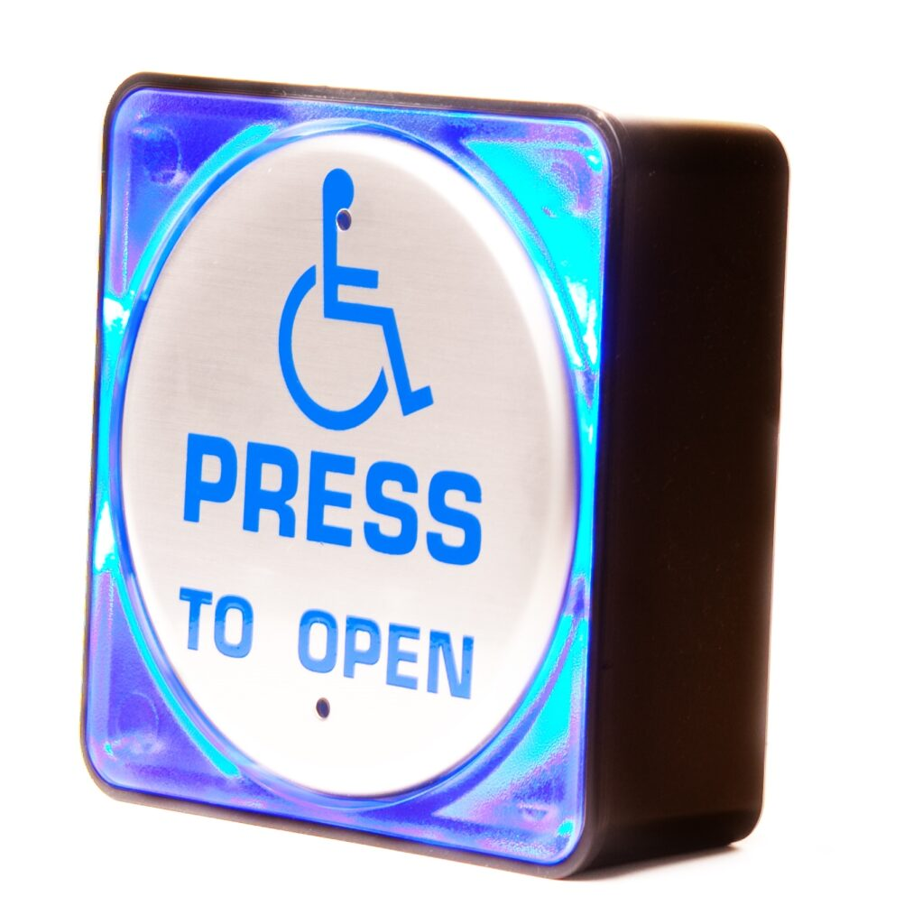 """Hotron Stainless Steel Back-lit Push Pad for Automatic Swing Doors illuminated with """"press to open"""" and wheelchair logo"""