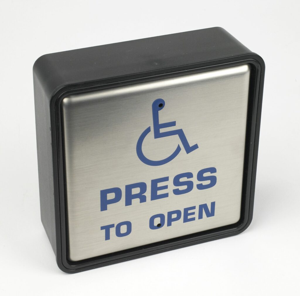 "Hotron 4S1UO Stainless Steel Push Pad for Automatic Doors with ""press to open"" and wheelchair logo"