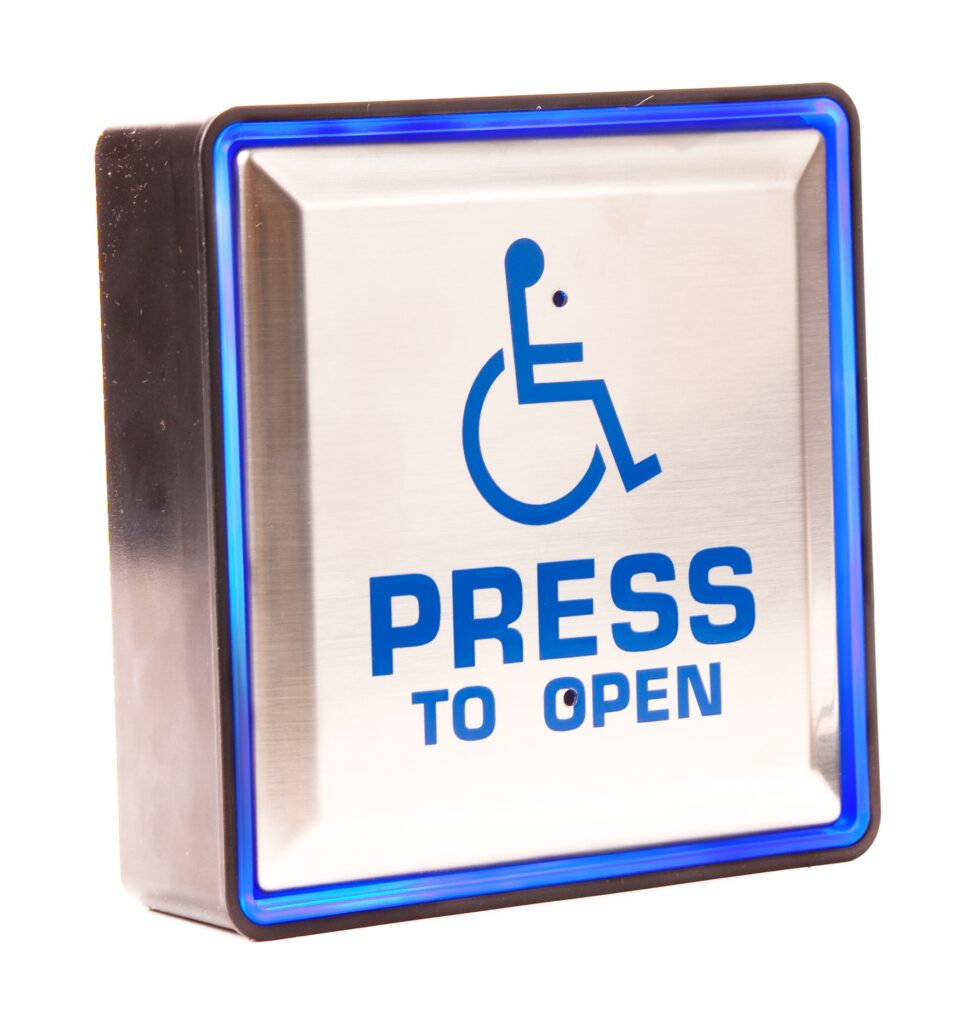 Hotron Stainless Steel Back-lit Push Pad for Automatic Swing Doors with wheelchair logo