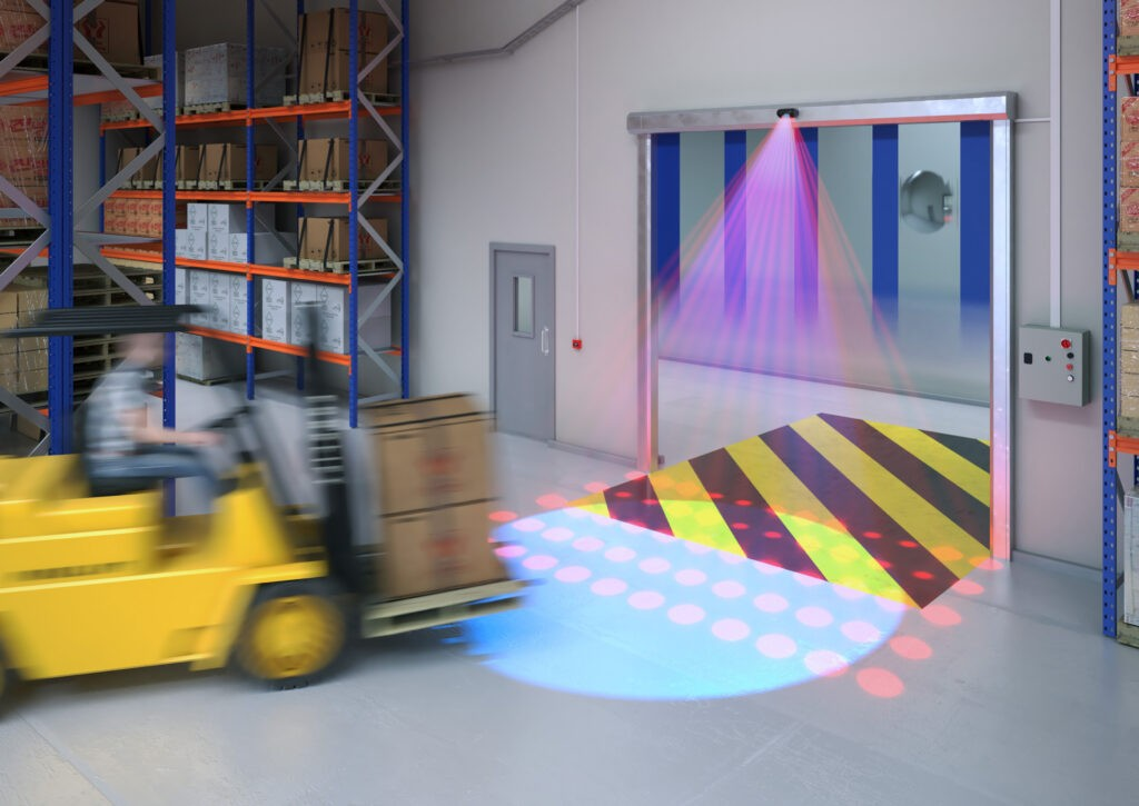 Kabuto Illustrated detection area on industrial high speed door approached by forklift truck