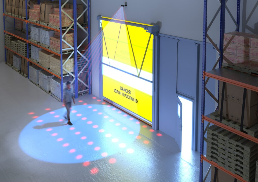 Illustration of Hotron KABUTO Industrial Automatic Door Activation Sensor non detection of pedestrians