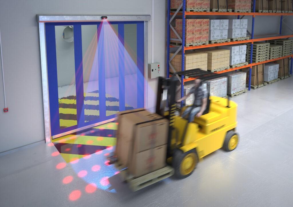 Hotron KABUTO Industrial high speed door activation sensor cross traffic filtering illustration