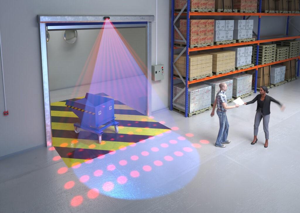 Hotron KABUTO Industrial fast-roll door sensor presence detection illustration