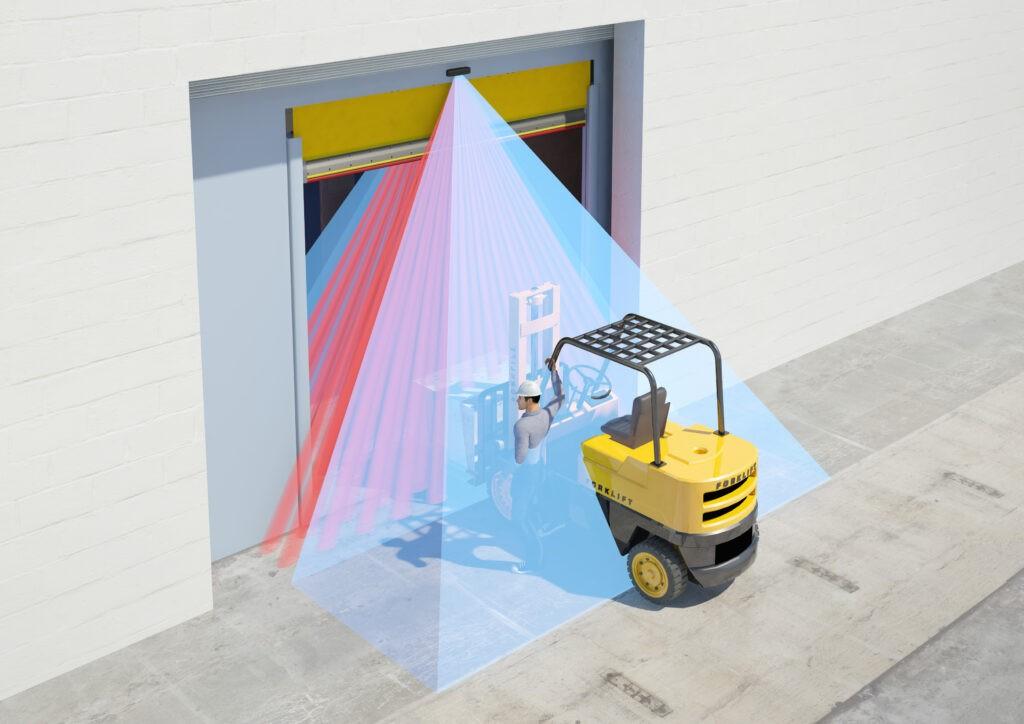 Illustration of a static forklift getting detected by a Hotron HR400-IND Industrial Door Activation Sensor