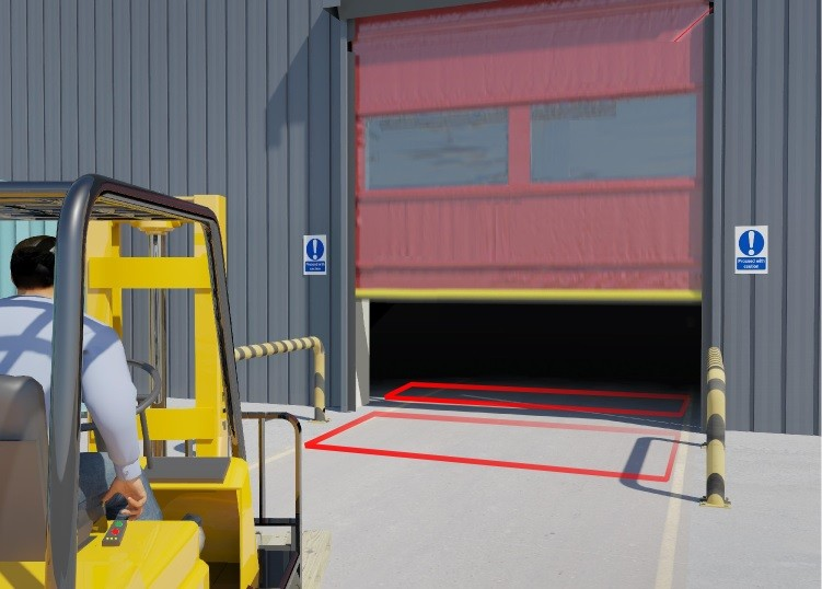 Forklift passing over the Hotron ULD Underground Loop Coil Detector for Industrial Automatic Doors
