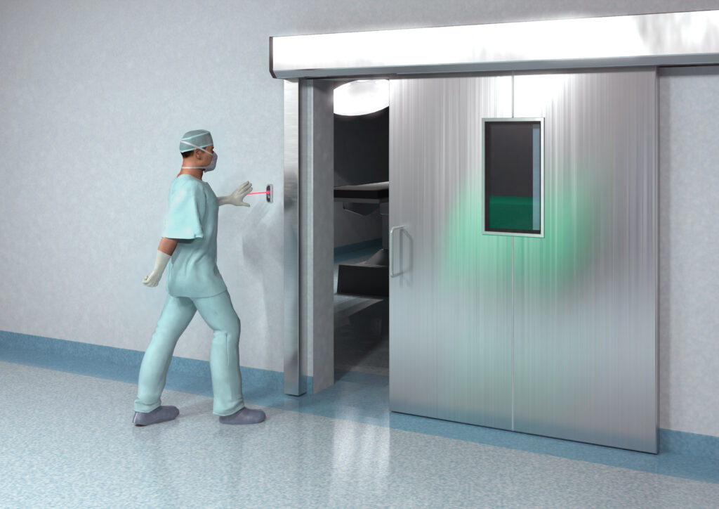 Hotron J-Wave Hygienic, Touchless Automatic Door Activation Switch on Hospital Automatic Door