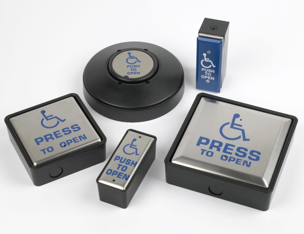 "Larco Push Pads, Larco Switches, Larco Push Plates - Hotron Stainless Steel Push Pads for Automatic Doors with ""press to open"" and wheelchair logo"