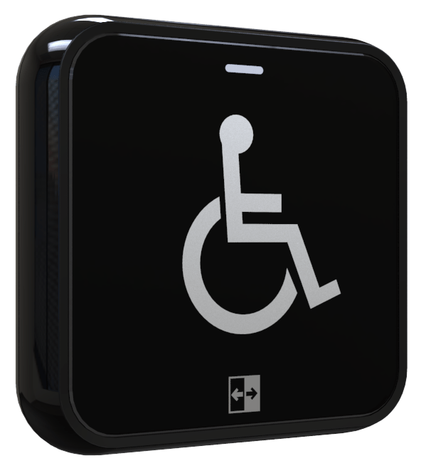 Hotron AerWave hygienic, touch free and wireless automatic door activation switch with wheelchair logo.