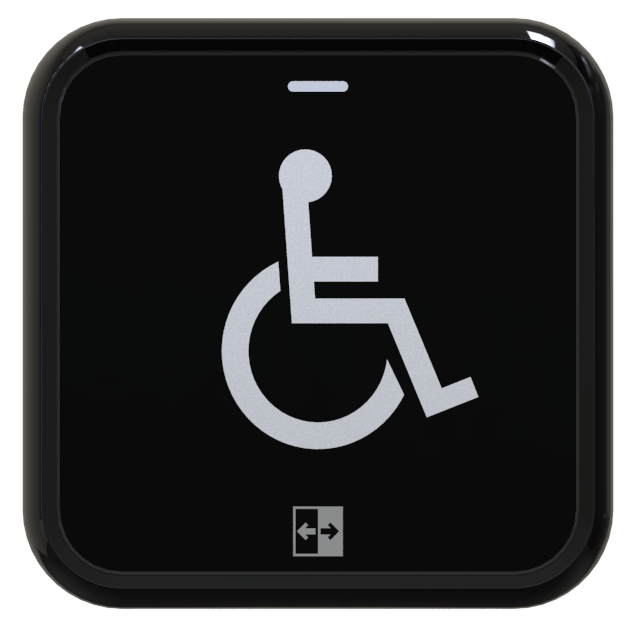 Hotron AerWave hygienic, touchless and wireless automatic door activation switch with wheelchair logo.
