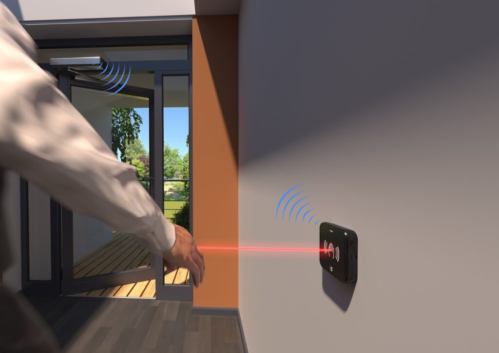Illustration of the Hotron AerWave hygienic, touchless and wireless switch in action